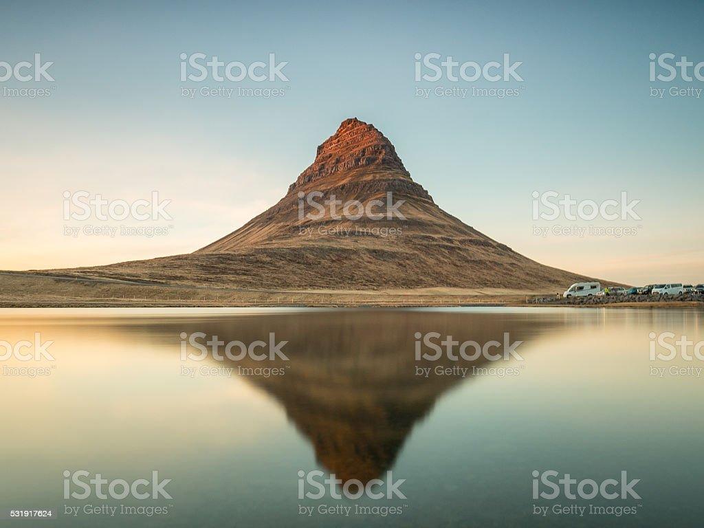 Reflection of Kirkjufell mountain in Iceland stock photo