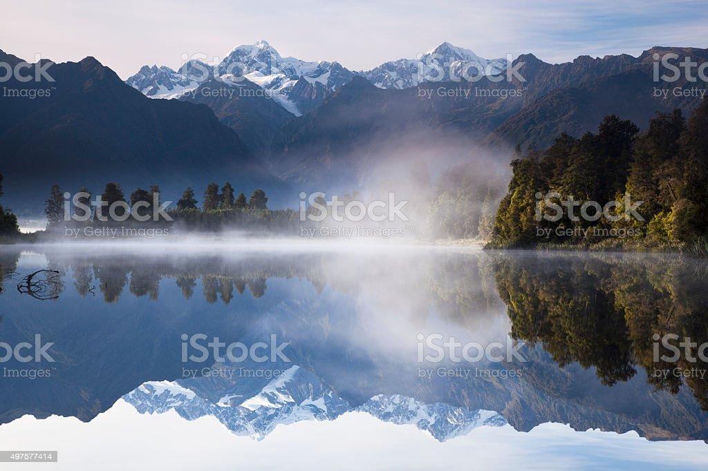 Reflection of Lake Matheson stock photo
