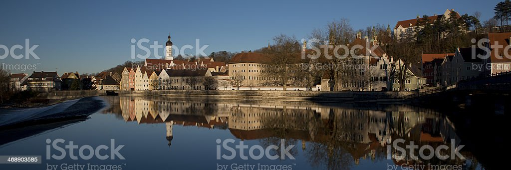 Reflection of Landsberg am Lech stock photo
