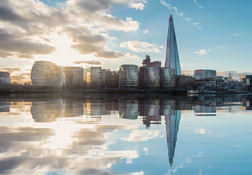 Reflection of London City Hall and The Shard - Stock Image