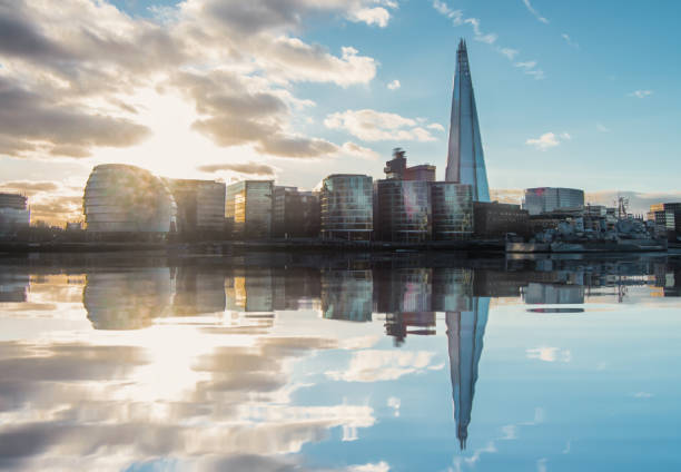 Reflection of London City Hall and The Shard - Stock Image Reflection of London City Hall and The Shard - Stock Image southeast england stock pictures, royalty-free photos & images