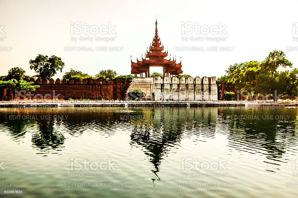 Reflection of Mandalay Palace stock photo