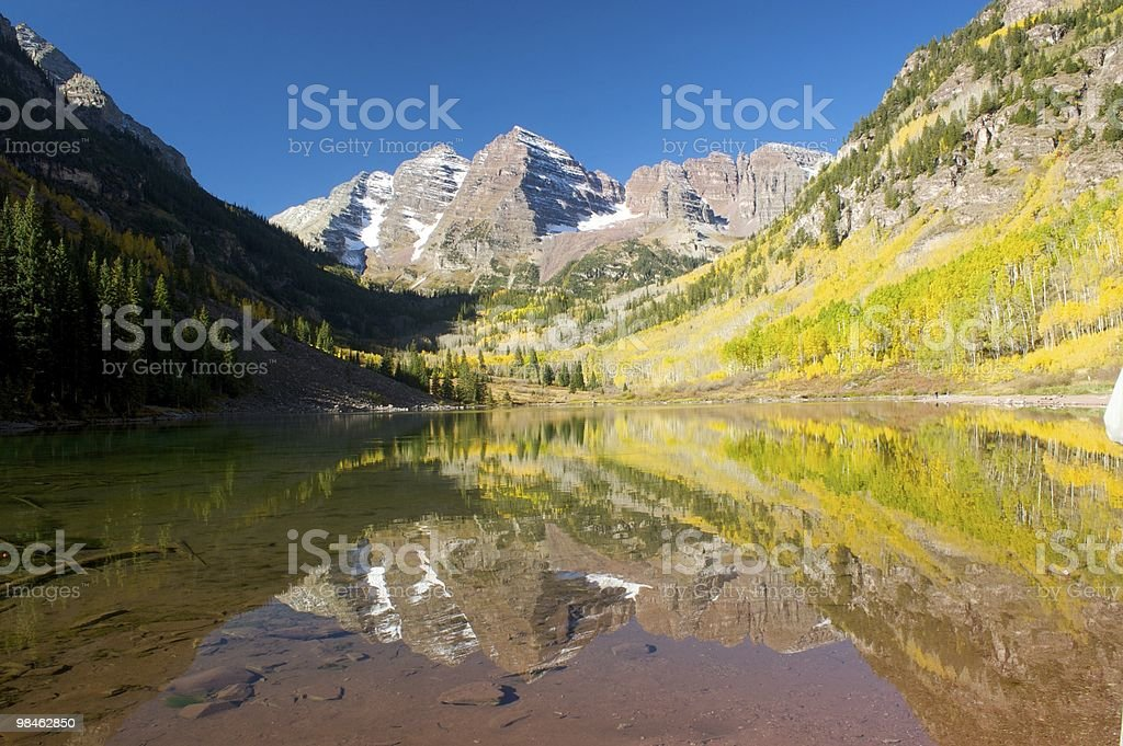 Reflection of Maroon Bells in Fall royalty-free stock photo
