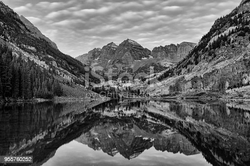 Reflection of Maroon Peak and North Maroon Peak in Maroon Lake at Maroon Bells Scenic Area of Maroon Bells-Snowmass Wilderness in the Pitkin County, Colorado, USA