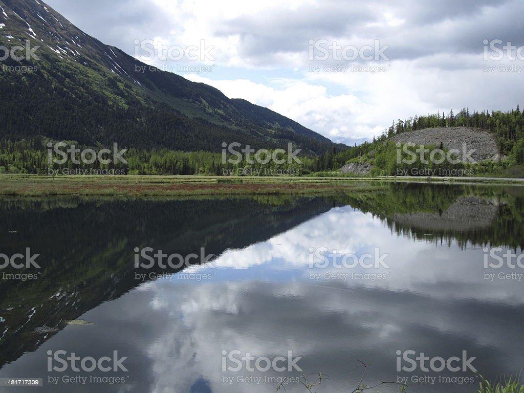 Reflection of mountains - Kenai Fjords National Park stock photo