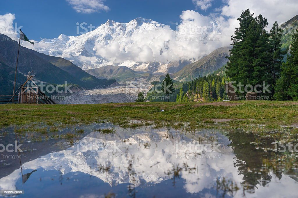 Reflection of Nanga Parbat mountain, Fairy Meadow, Gilgit, Pakistan stock photo