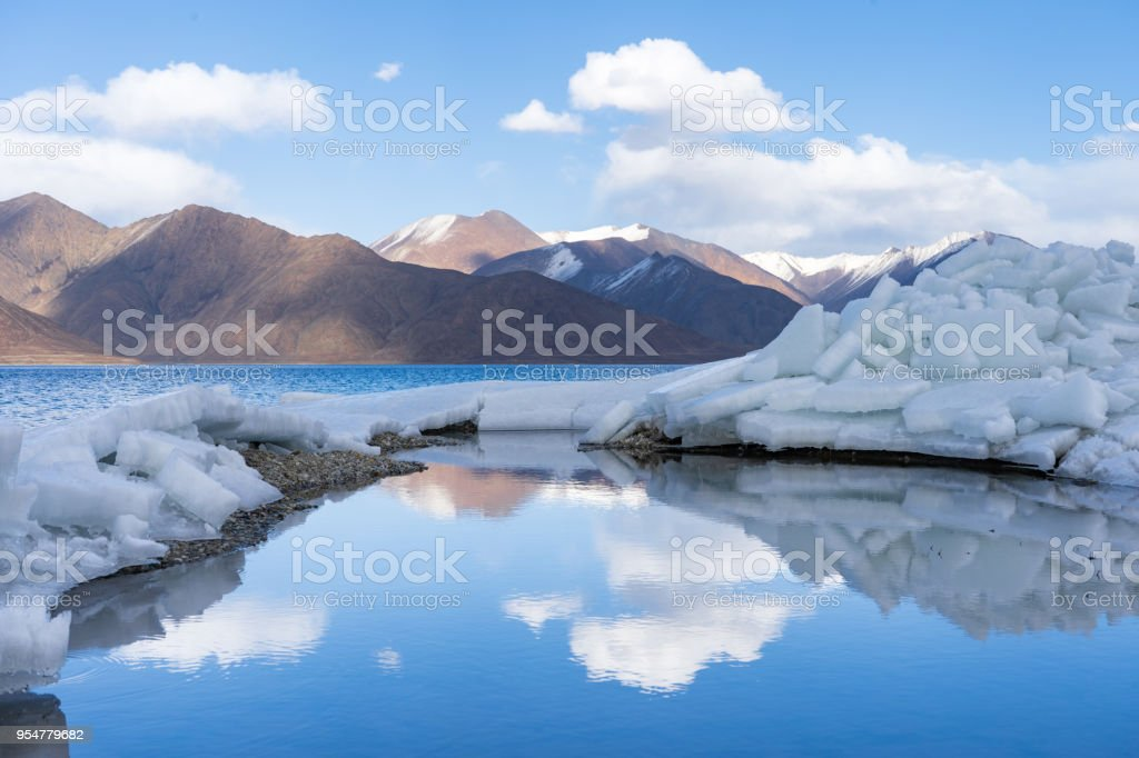 Reflection of Pangong Lake in early Spring in Leh Ladakh, North India. Pangong Tso is a beautiful endorheic lake situated in the Himalayas extending from India to China stock photo