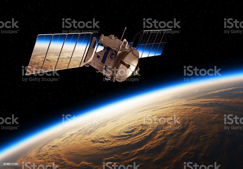 Reflection Of Planet Earth In Solar Panels Of A Space Satellite stock photo