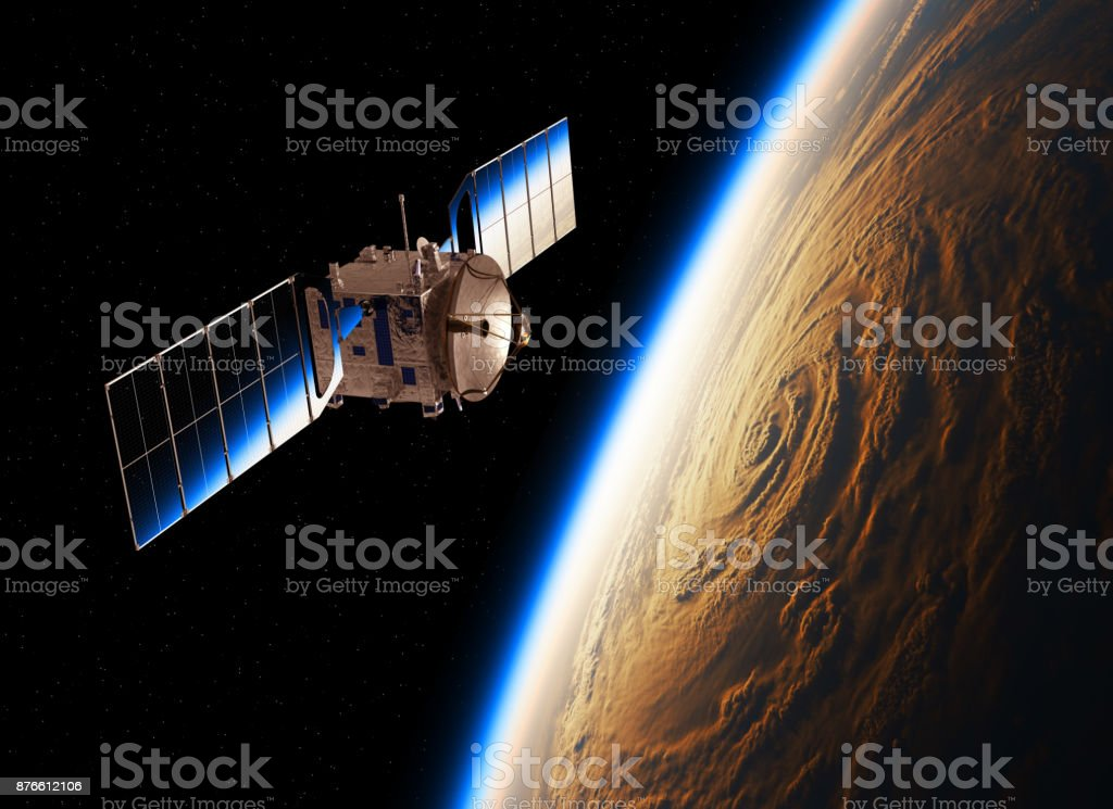 Reflection Of Planet Earth In The Solar Panels Of Satellite stock photo