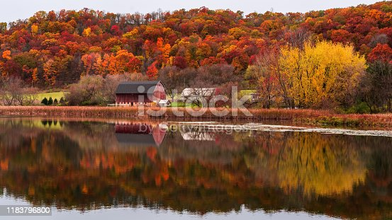 reflection of red barn during fall in southern minnesota