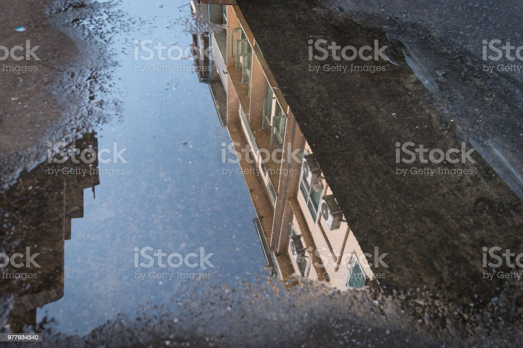 Reflection of residential Thai buildings stock photo