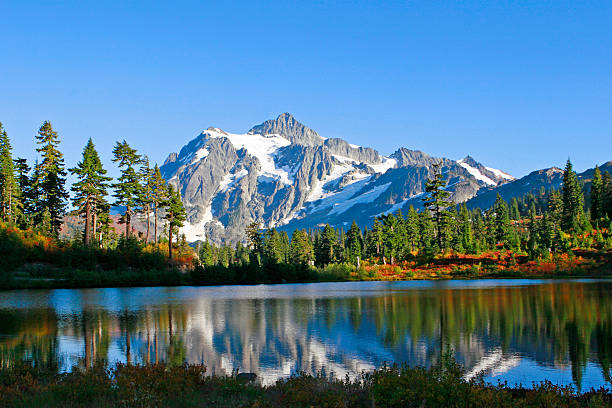 Reflection of Rugged Mountain Peak stock photo