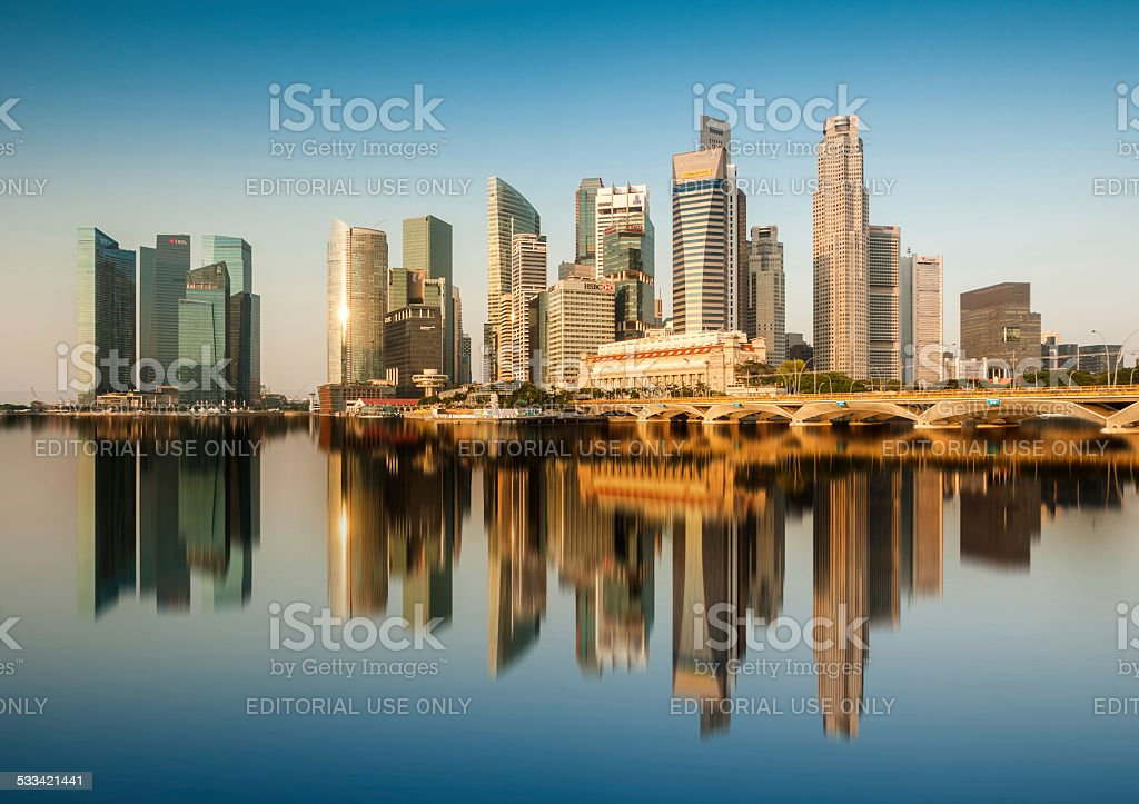 Reflection of Singapore Central Business District (CBD) in the morning. stock photo