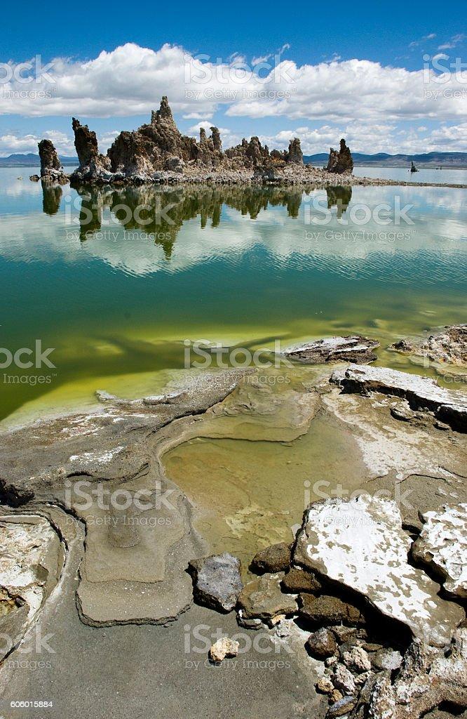 Reflection of South Tufa at Mono Lake, California stock photo