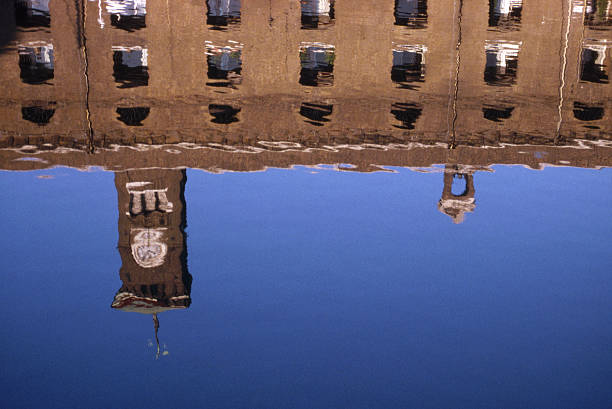 Reflection of St Catherine's Dock stock photo