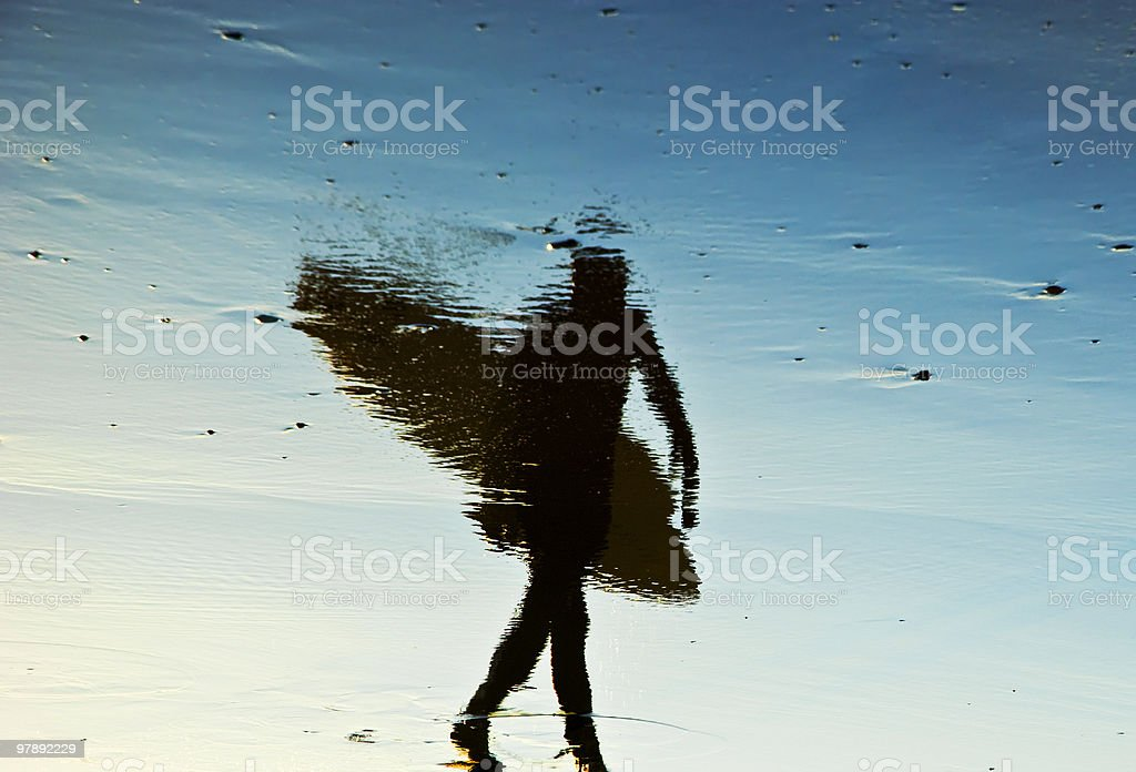 Reflection of surfer. royalty-free stock photo