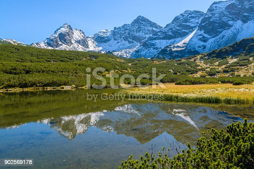 870409146 istock photo Reflection of Tatra Mountains in water of a beautiful alpine lake in Gasienicowa valley in autumn season, Poland 902569178