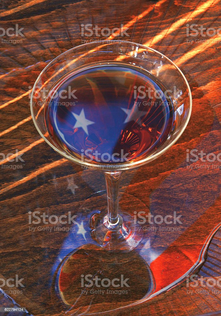Reflection of the American flag stock photo