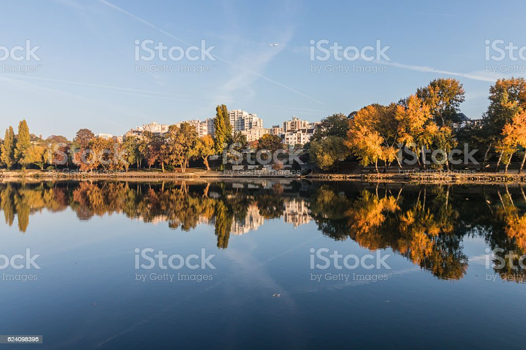 Reflection of the bank of the Seine stock photo