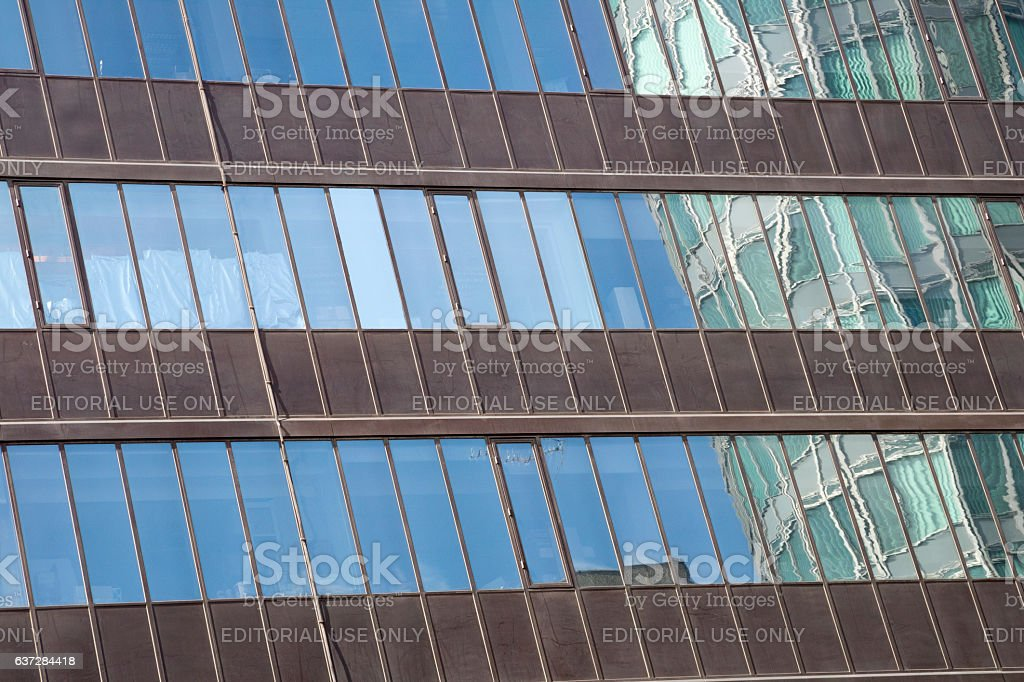 Reflection of the BT Tower in a London office building stock photo