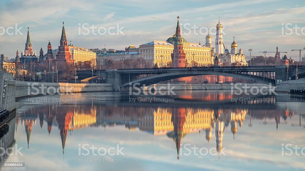 Reflection of the Moscow Kremlin in morning stock photo