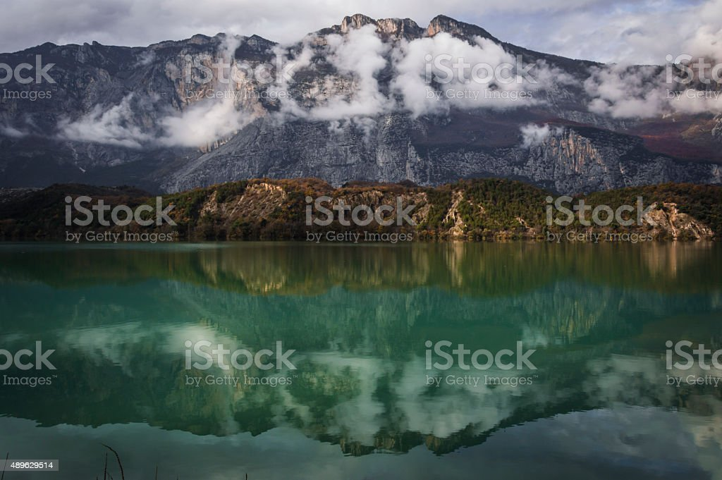 Reflection of the mountains stock photo