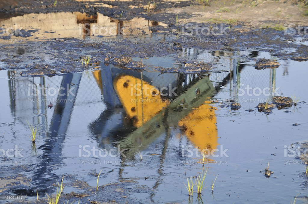 reflection of the oil pumps stock photo