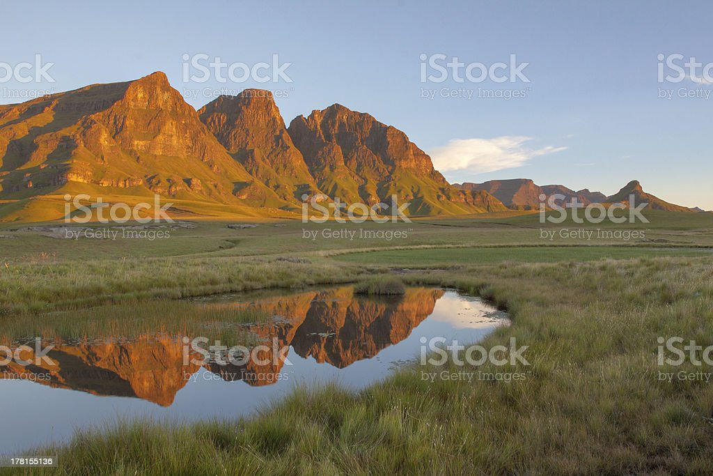 Reflection of the Peaks stock photo