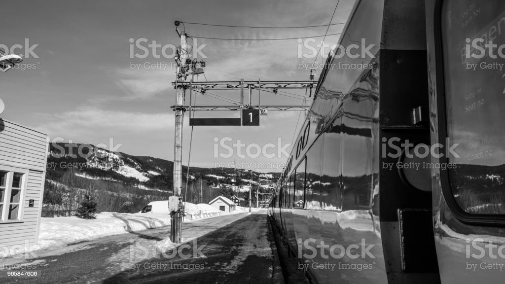 Reflection of train station and mountain on the train - Royalty-free Andes Stock Photo