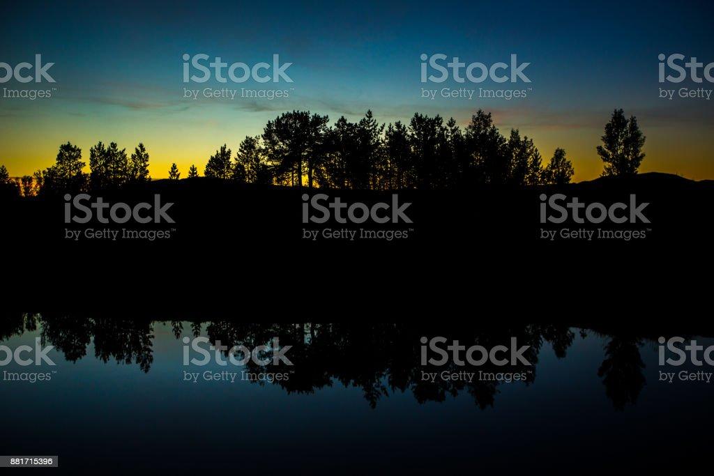 Reflexion der Bäume nach Sonnenuntergang – Foto