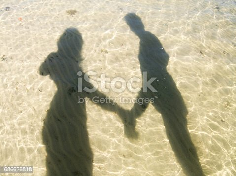istock Reflection of two lovers in water. Heart with two loving people. 686626818
