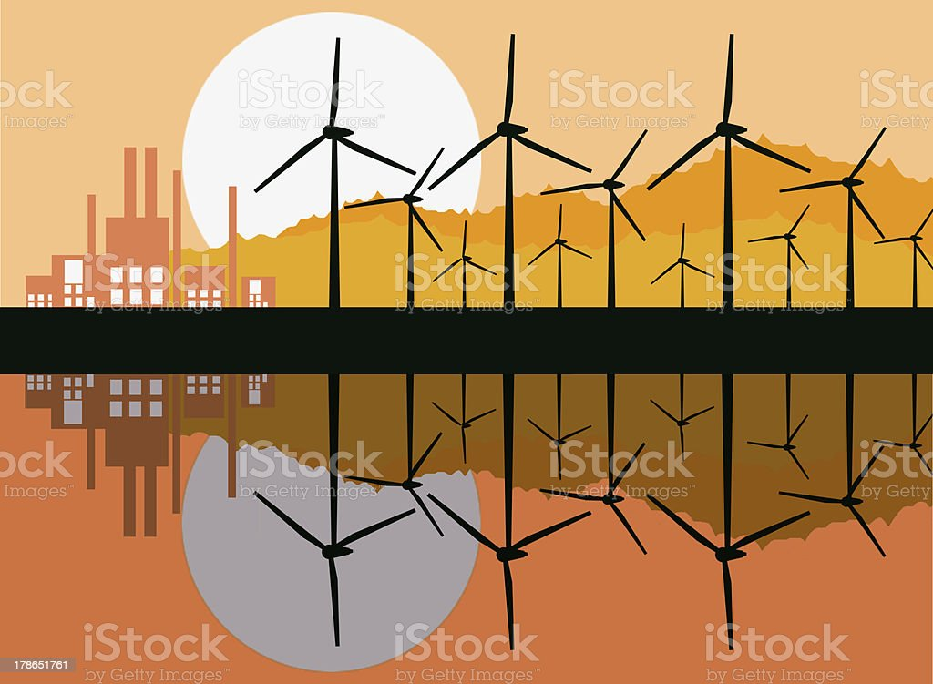Reflection of wind turbine generating electricity with building  . royalty-free stock photo