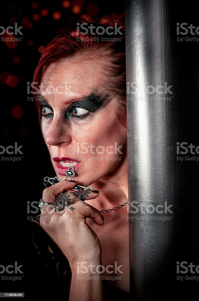 Reflection of woman in mirror with the cross - VI royalty-free stock photo