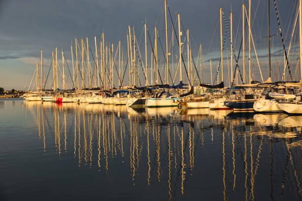 Reflection of  yachts stock photo