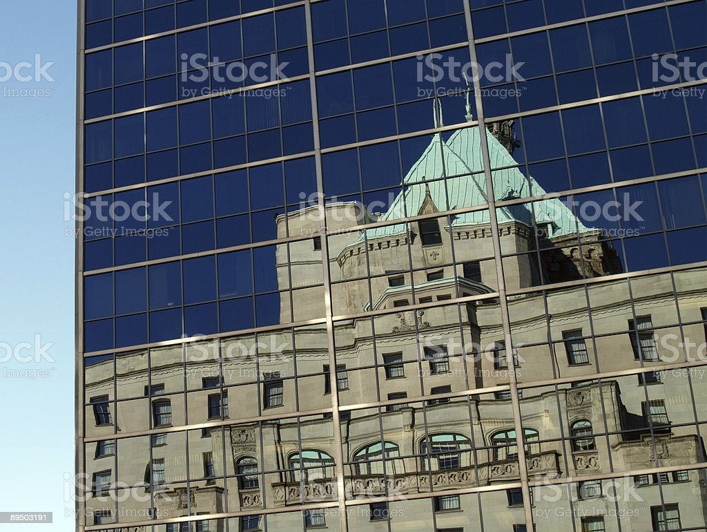 Reflection - old in new royalty-free stock photo