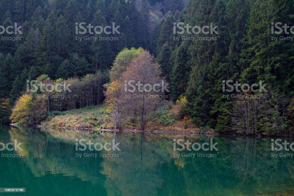 Göl üzerinde yansıma stok fotoğrafı