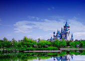 Fairy castle,same like disneyland castle, reflection on lake, Eskisehir