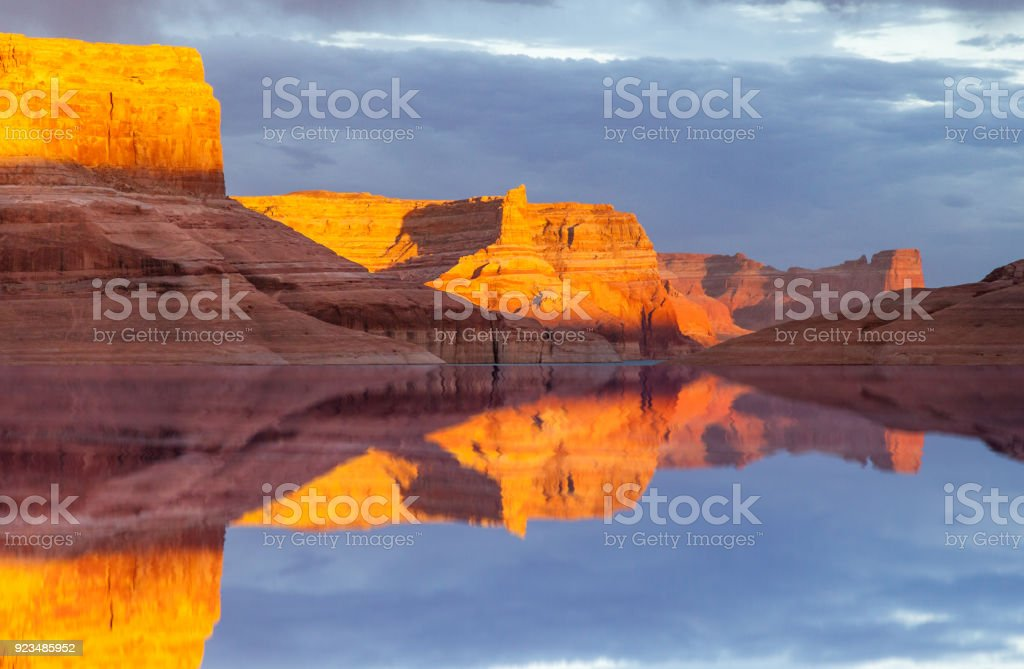 Reflection on Lake Powell Reflection on the water of Lake Powell in Glen Canton National Recreation Area, Utah Beauty Stock Photo