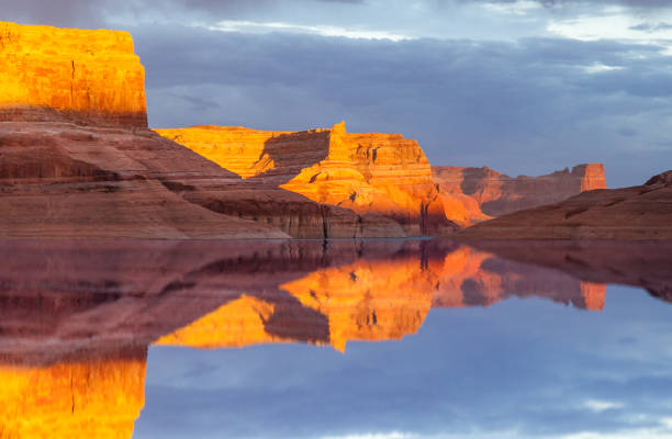 Reflection on Lake Powell stock photo