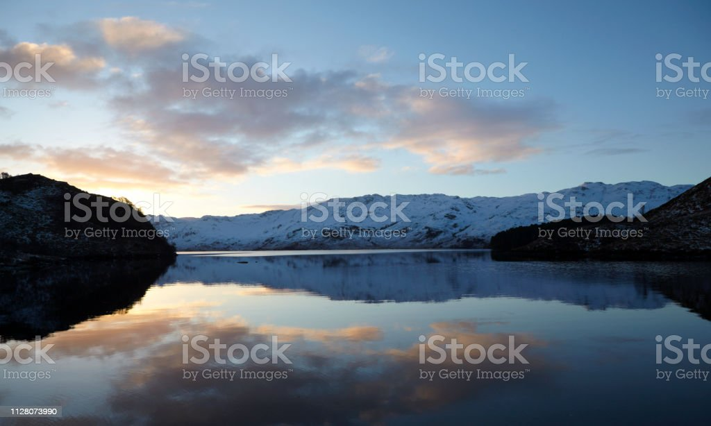 Reflection on Loch Morar, Scottish Highlands, Scotland, UK stock photo