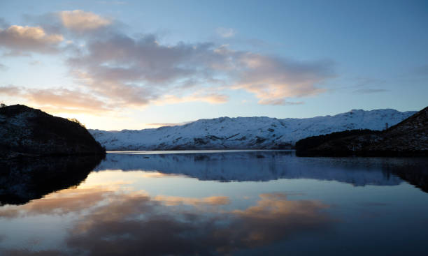 Reflection on Loch Morar, Scottish Highlands, Scotland, UK stock photo