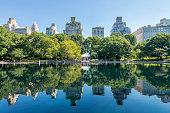 Reflection on the Conservatory water pond at Central Park, Manhattan, New York, USA.