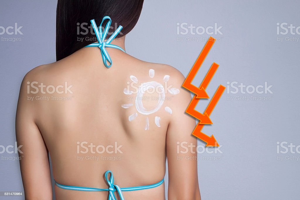UV reflection skin after protection. stock photo