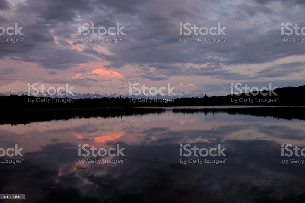 Reflection Sunset on Denali stock photo