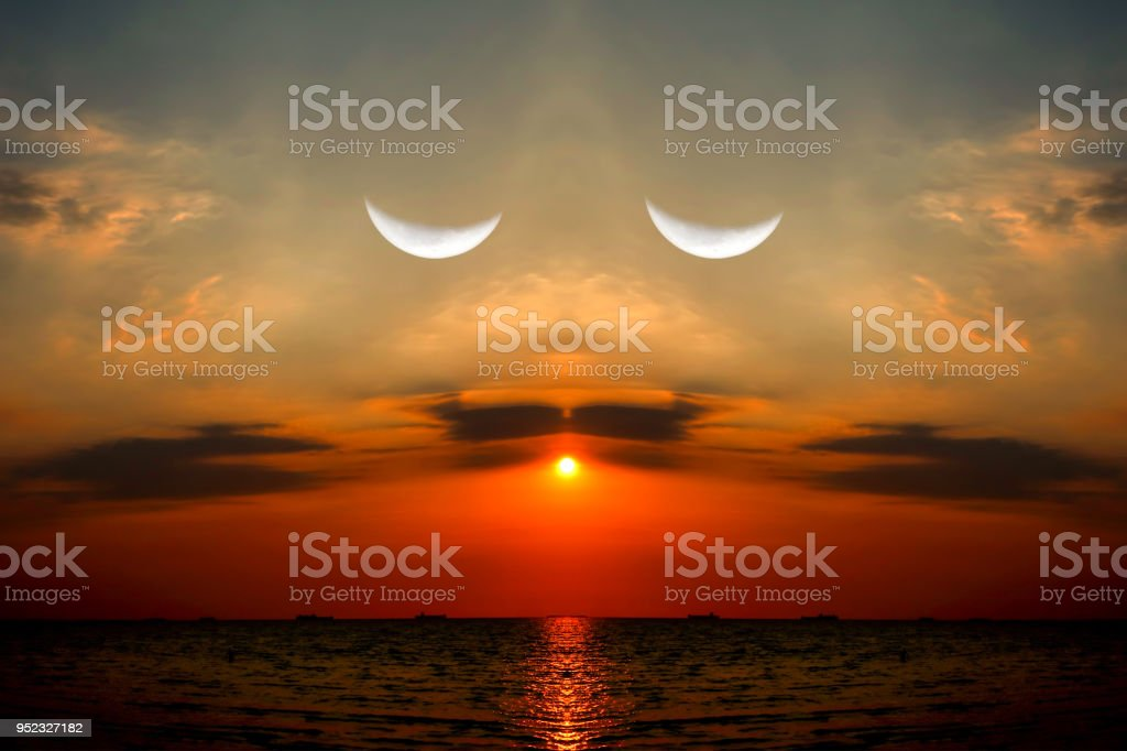 reflection sunset on sea half moon in evening sky, take photo mirror...