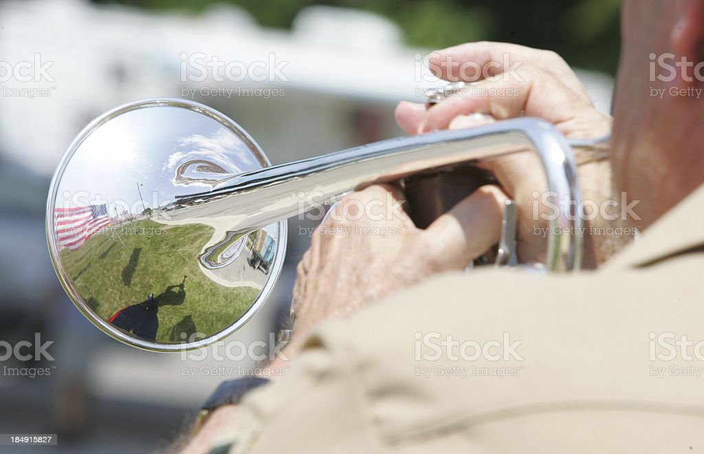 Reflection through a bugle stock photo