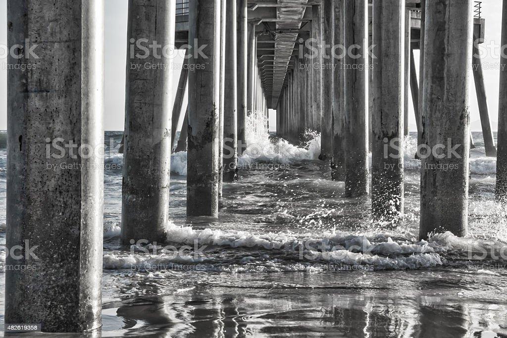 Reflection under the Ocean Pier stock photo