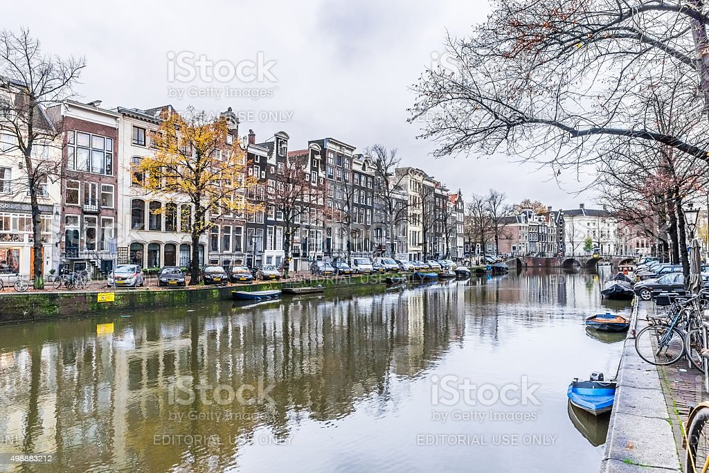 Reflections and Citylife through Canals of Amsterdam stock photo