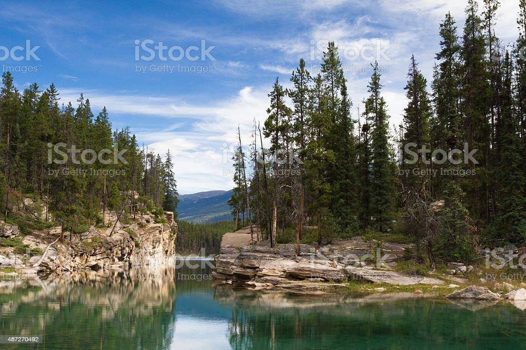 Reflections at Horseshoe Lake stock photo