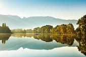 Reflections in the morning at the old Rhine (Alter Rhein) in Lustenau., Vorarlberg, Austria.